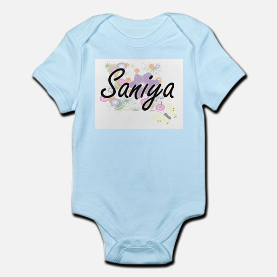 Saniya Artistic Name Design with Flowers Body Suit