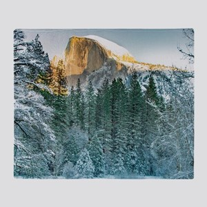 Half Dome in Winter Throw Blanket
