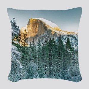 Half Dome in Winter Woven Throw Pillow