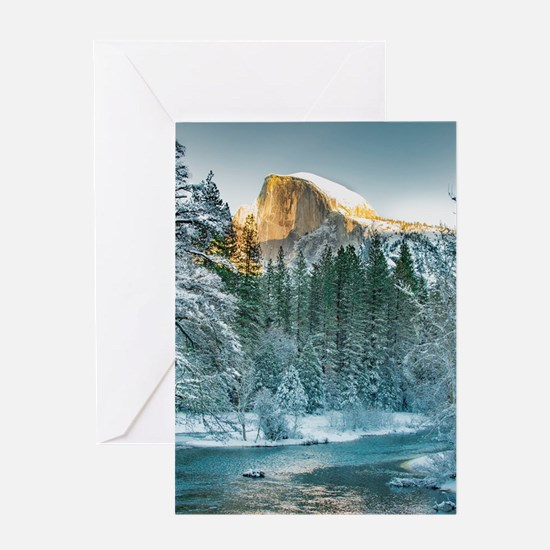 Half Dome in Winter Greeting Cards