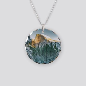 Half Dome in Winter Necklace Circle Charm