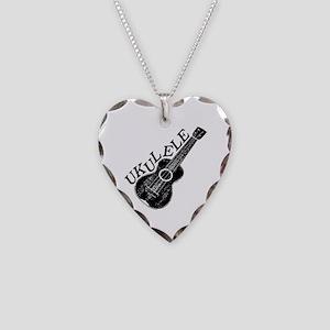 Ukulele Text And Image Necklace Heart Charm