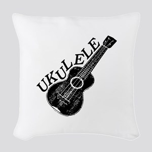 Ukulele Text And Image Woven Throw Pillow