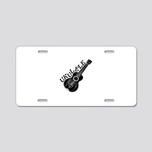Ukulele Text And Image Aluminum License Plate