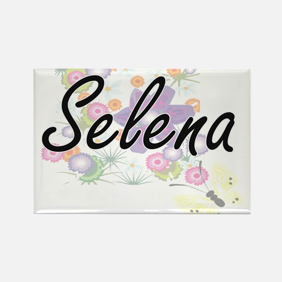 Selena Artistic Name Design with Flowers Magnets