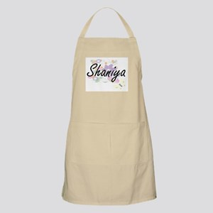 Shaniya Artistic Name Design with Flowers Apron