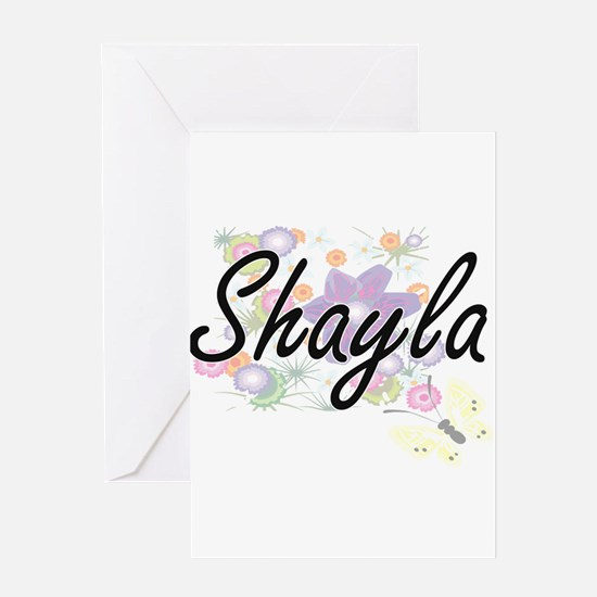 Shayla Artistic Name Design with Fl Greeting Cards