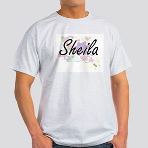 Sheila Artistic Name Design with Flowers T-Shirt