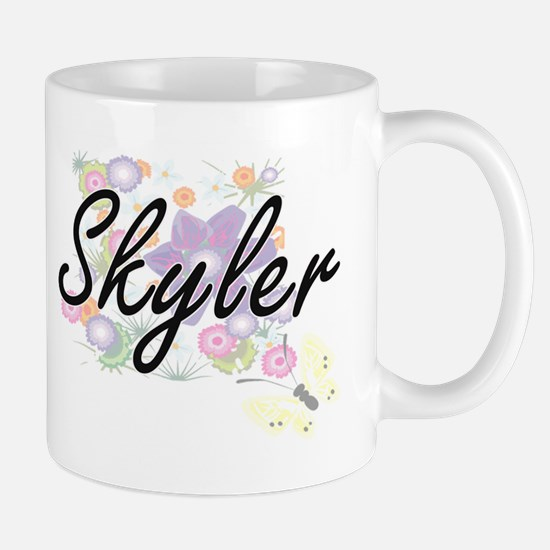 Skyler Artistic Name Design with Flowers Mugs