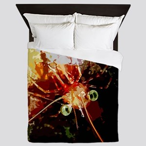 Red Night Shrimp Design Queen Duvet