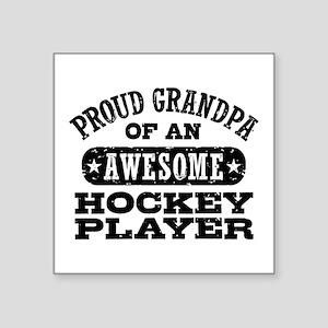 "Hockey Grandpa Square Sticker 3"" x 3"""