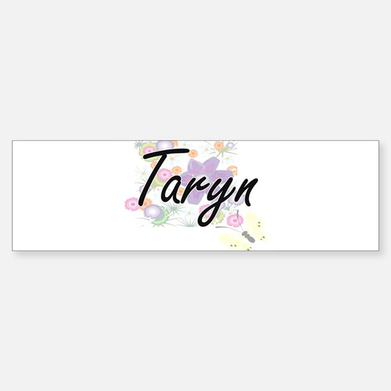 Taryn Artistic Name Design with Flo Bumper Car Car Sticker
