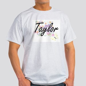 Taylor Artistic Name Design with Flowers T-Shirt