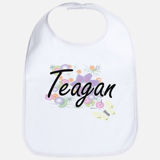 Teagan Artistic Name Design with Flowers Bib
