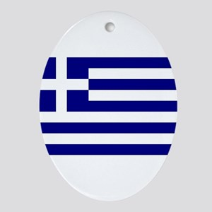 Greece Flag Oval Ornament