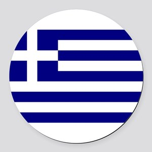 Greece Flag Round Car Magnet