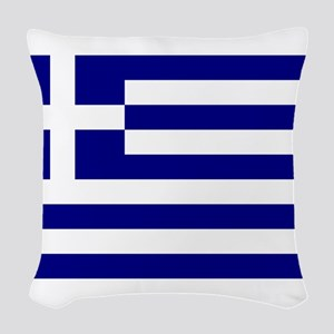Greece Flag Woven Throw Pillow