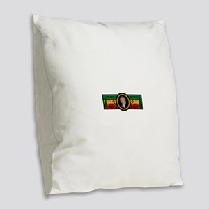 Smile Selassie Burlap Throw Pillow