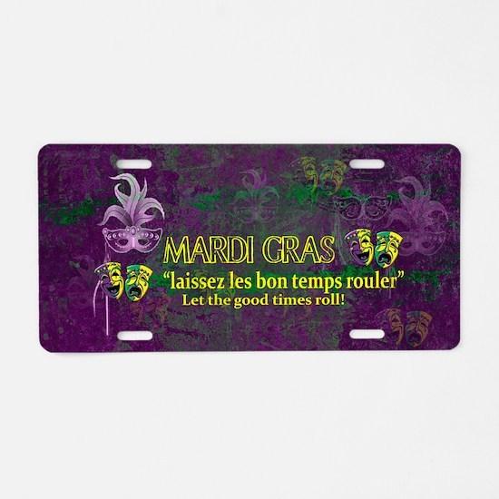 Mardi Gras Good Times Roll Aluminum License Plate