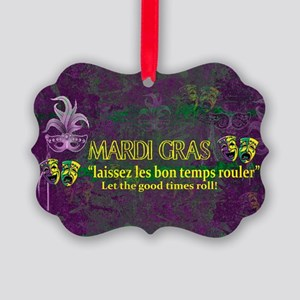 Mardi Gras Good Times Roll Picture Ornament