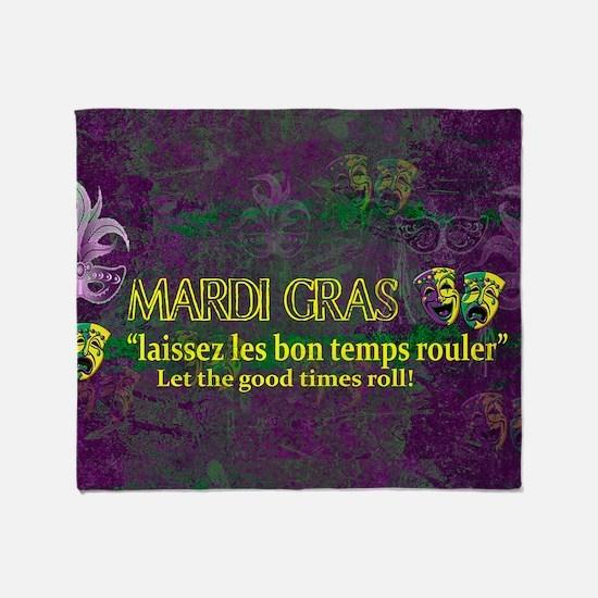 Mardi Gras Good Times Roll Throw Blanket
