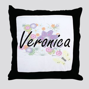Veronica Artistic Name Design with Fl Throw Pillow