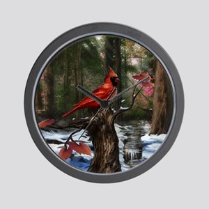 cardinal bird art Wall Clock