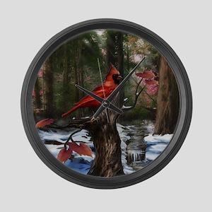 cardinal bird art Large Wall Clock