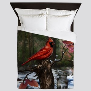 cardinal bird art Queen Duvet