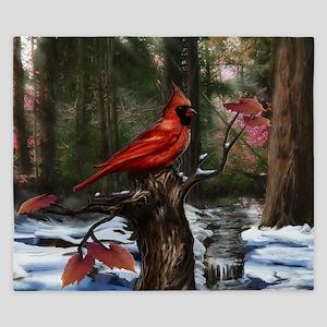 cardinal bird art King Duvet