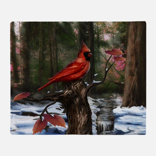 cardinal bird art Throw Blanket