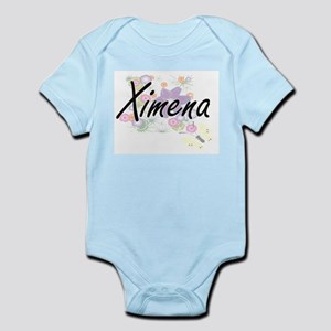 Ximena Artistic Name Design with Flowers Body Suit