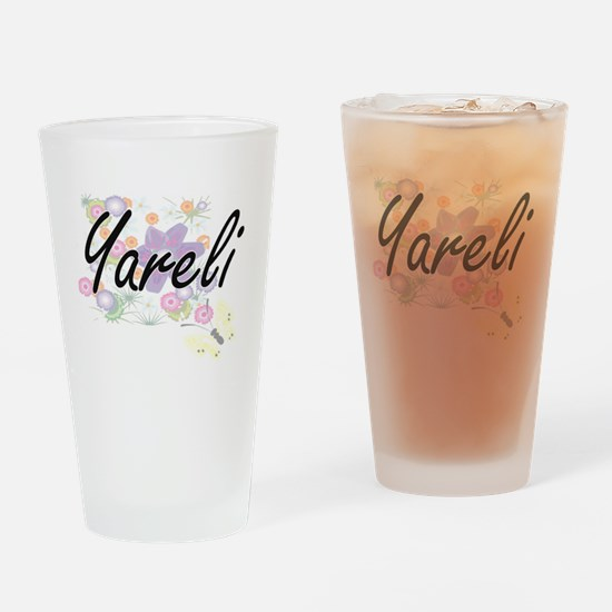 Yareli Artistic Name Design with Fl Drinking Glass