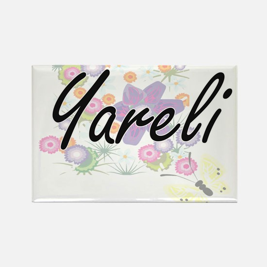 Yareli Artistic Name Design with Flowers Magnets