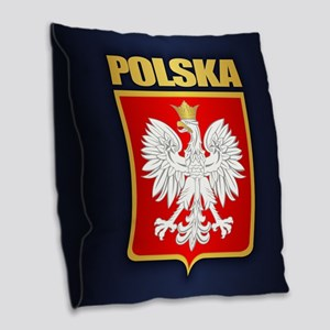 Poland Coa Burlap Throw Pillow