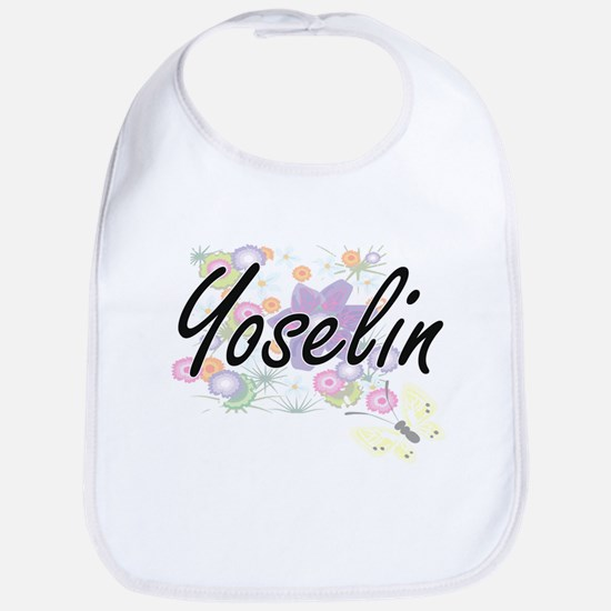 Yoselin Artistic Name Design with Flowers Bib