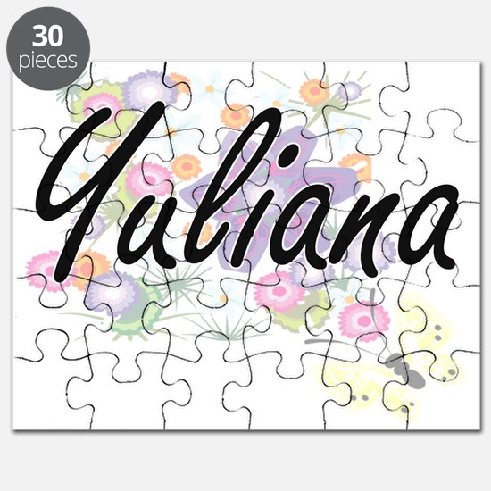 Yuliana Artistic Name Design with Flowers Puzzle