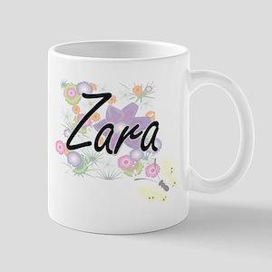 Zara Artistic Name Design with Flowers Mugs