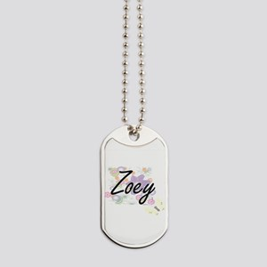 Zoey Artistic Name Design with Flowers Dog Tags