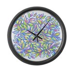 Pastel Leaves (ff) Large Wall Clock