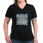 Pastel Leaves (ff) Women's V-Neck Dark T-Shirt