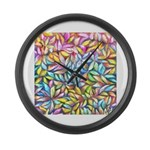 Pastel Leaves 1 Large Wall Clock