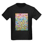 Pastel Leaves 1 Kids Dark T-Shirt