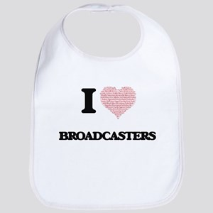 I love Broadcasters (Heart made from words) Bib