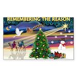 Remember-Christmas Sunrise Sticker (Rectangle