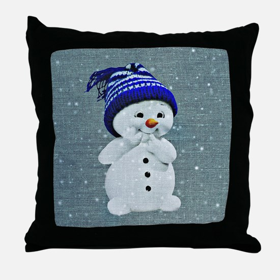 Cool Blue orange Throw Pillow