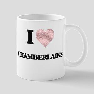 I love Chamberlains (Heart made from words) Mugs