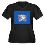 Three Doves Women's Plus Size V-Neck Dark T-Shirt