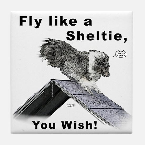 Shelties Fly- Agility Tile Coaster