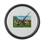 CUP-Cartoon Golfers-letters Large Wall Clock